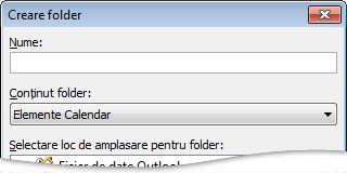 Crearea caseta de dialog Folder nou
