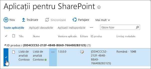 Aplicații pentru catalogul de aplicații SharePoint cu aplicația selectată