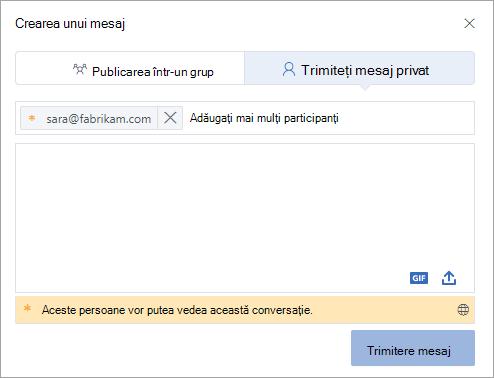 Adăugarea unui participant extern la un mesaj privat