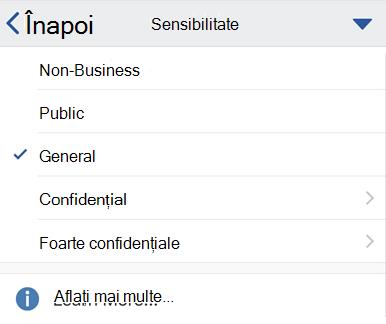 Meniul sensibilitate iOS cu etichete sensibilitate afișate