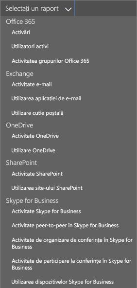 Selectați rapoartele Office 365 disponibile
