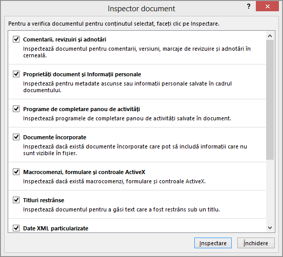 Se afișează opțiunile din caseta de dialog Inspector document