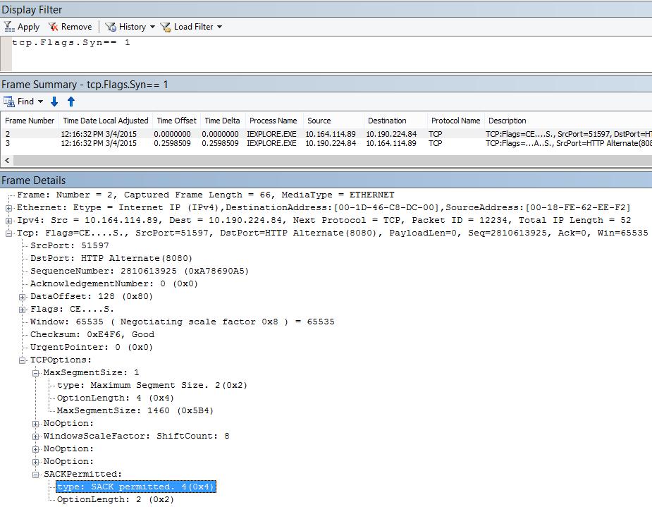 Confirmarea selectivă (SACK - Selective Acknowledgment) în Netmon, ca rezultat al tcp.flags.syn == 1.