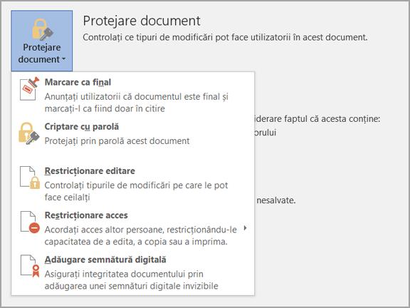 Protejare document