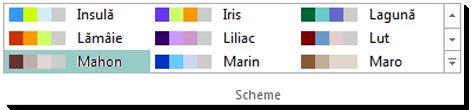 Galerie de selecție pentru scheme de culori