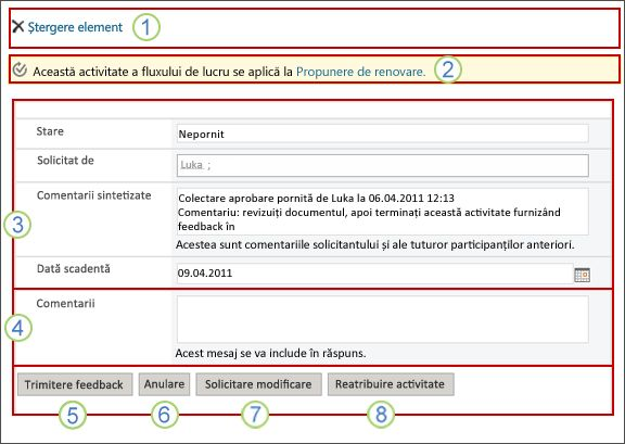 Formular de activități Obținere feedback cu câmpurile explicate