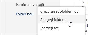 Captură de ecran a opțiunea ștergeți folderul meniu