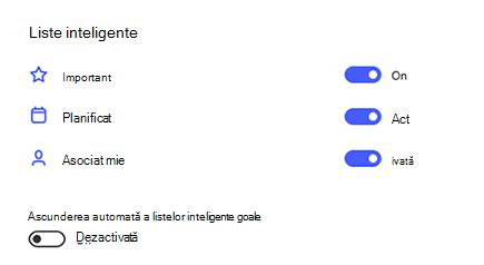 Captură de ecran a listelor inteligente din Setări cu importante, planificate și atribuite pentru mine activată și ascunderea automată a listelor inteligente goale comutate.