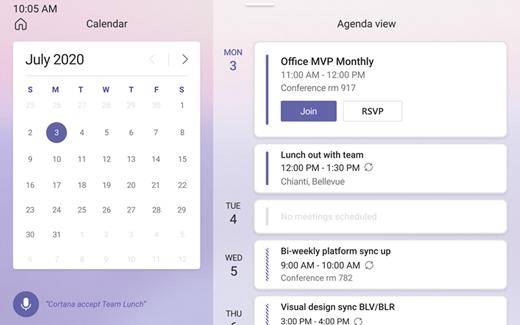 Ecranul Calendar