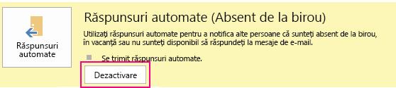 Captură de ecran a casetei de dialog de dezactivare răspunsuri automate din Outlook