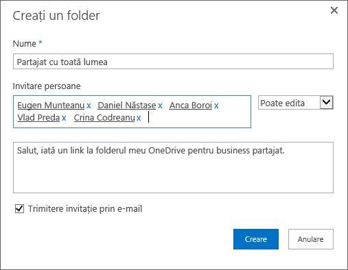 Caseta de dialog pentru listarea adreselor de e-mail ale persoanelor cu care doriți să partajați folderul dvs. OneDrive pentru business.