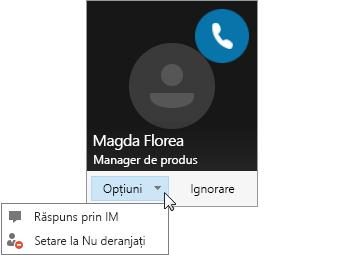 Captură de ecran a unei notificări de apelare, cu meniul Opțiuni deschis.