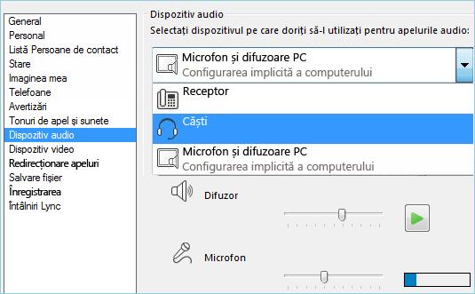 Captură de ecran a configurării audio