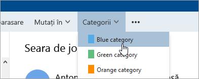 Captură de ecran cu butonul Categorii