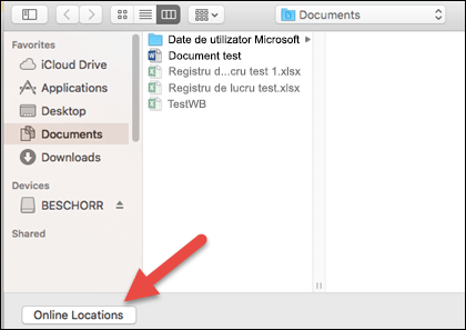"""Meniul Deschidere fișier din vizualizarea """"Pe Mac""""."""