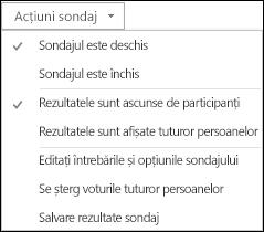 Captură de ecran cu acțiunile pentru sondaj