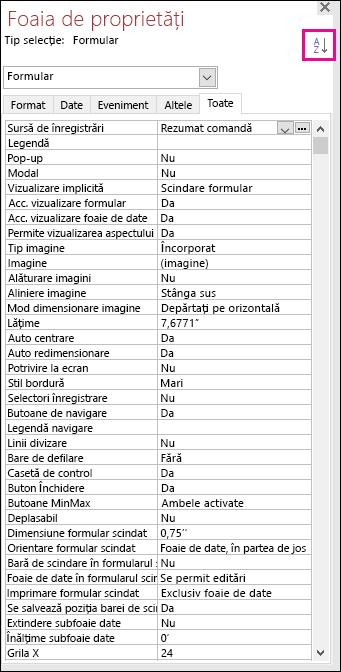 Captură de ecran cu foaia de proprietăți Access, fără proprietăți sortate