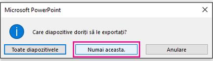 Când vi se solicită ce diapozitiv doriți să exportați, faceți clic pe doar acesta.