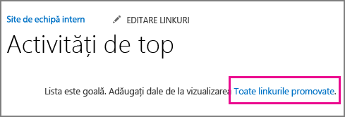 O imagine a aplicației Linkuri promovate.