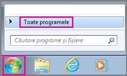 Căutarea aplicațiilor Office utilizând Toate programele în Windows 7