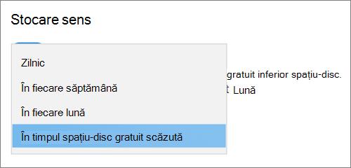 Meniul vertical stocare Windows 10 selectarea frecvenței pentru a rula sensul de stocare