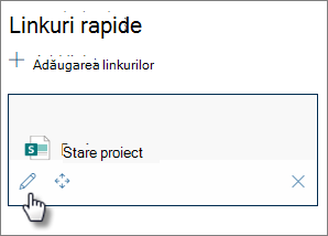 Butonul Editare link rapid