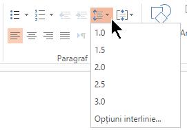 Opțiunile de meniu interlinie din panglică vă permite să selectați spațiate la un rând, de două spații, sau alte opțiuni de spațiere linie verticală.