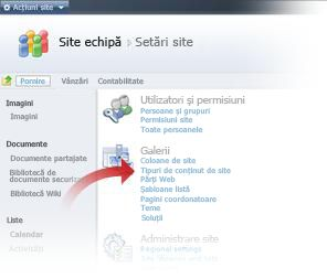 Selectarea tipuri de conținut de Site din fereastra Setări Site