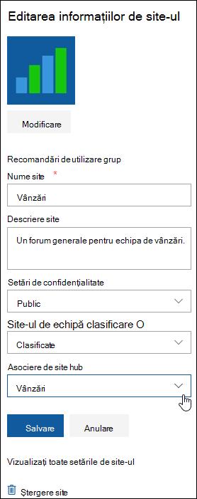 Asociați un site SharePoint cu un site hub