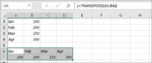Rezultatul formulei cu celulele A1:B4 transpuse în celulele A6:D7