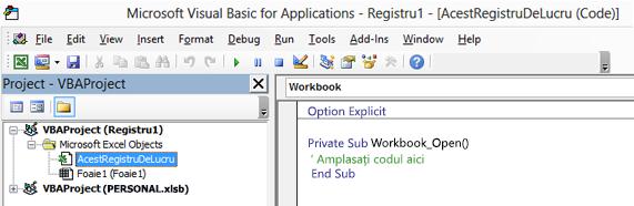 Acestregistrudelucru modulul în Visual Basic Editor (VBE)