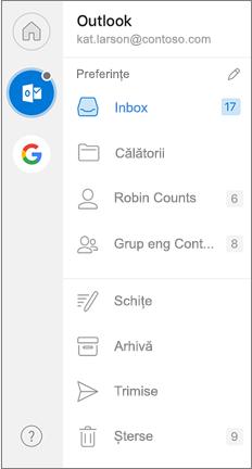 Panoul de navigare Outlook cu preferințe în partea de sus