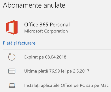 Afișează un abonament Office 365 care a expirat