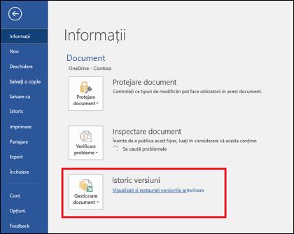 Butonul Gestionare versiuni vă permite să restaurați versiunile anterioare ale documentului