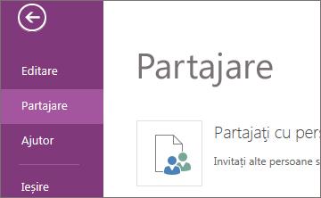 Comanda partajare în OneNote Web App