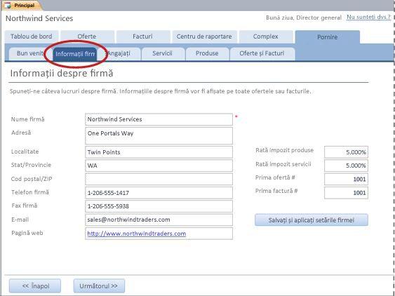 Fila Informații firmă din șablonul pentru bazele de date Servicii