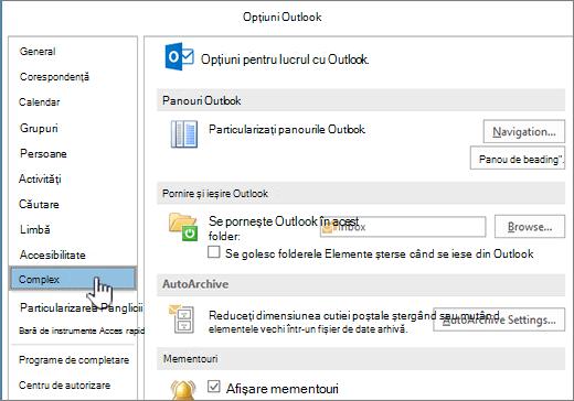 Opțiuni Outlook cu complex selectat