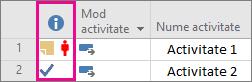 Indicatori de coloană în Project