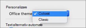 Meniul vertical temă Office, în care utilizatorul poate selecta o temă colorată sau clasică