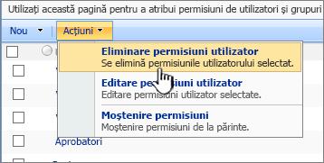 Eliminare permisiuni utilizator din meniul acțiune