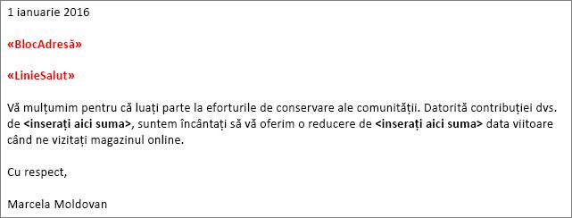 """Exemplu scrisoare de îmbinare de corespondență în Word afișând câmpul """"bloc adresă"""" și """"linie de salut"""" câmp."""