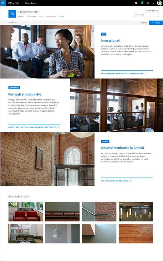 Casetă de prezentare a site-ului de comunicare SharePoint