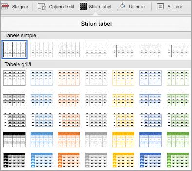 Galeria de șabloane de tabel iPad