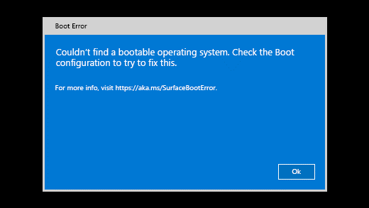 Mesajul de eroare afișat atunci când Surface nu găsește un sistem de operare bootabil.