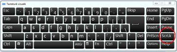 Tastatură vizuală Windows cu tasta Scroll Lock