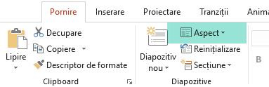 Butonul Aspect din fila Pornire din PowerPoint afișează toate aspectele de diapozitiv disponibile