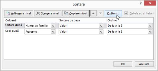 Faceți clic pe Sortare pentru a deschide caseta de dialog Sortare