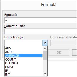 Funcțiile de lipire a unei formule sunt afișate din fila Instrumente tabel - Aspect.