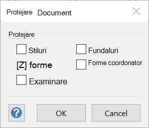 Caseta de dialog Protejare document.