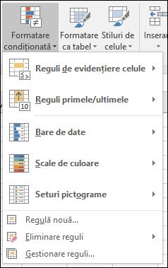 Formatare condiționată - selecții